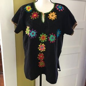 Vintage Oaxacan Black Embroidered Tunic Handmade